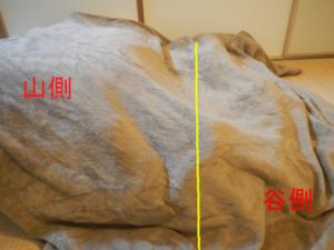 斜面に見たてた毛布