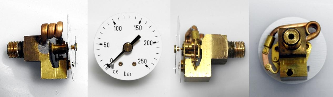 分解した圧力計を4方向から撮影